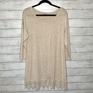 Emerald Tunic Light Beige with Lace Trim size S